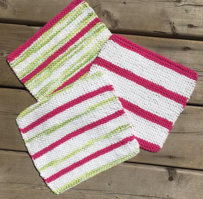 Cotton Dishcloth / Hand Knit Dish Cloth set 3 / Pink / Green image 0