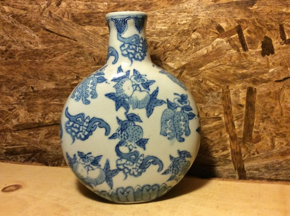 Vintage Blue And White Chinese Vase Floral And Fruit Designs Etsy