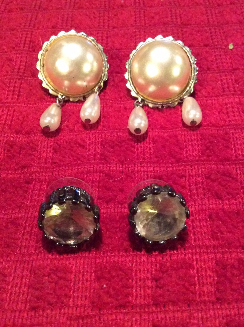 2 pairs Antique costume jewelry earrings