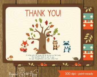 WOODLAND matching thank you card, forest animals, customizable text upon request, Printable file, fox, raccoon and gopher shower party