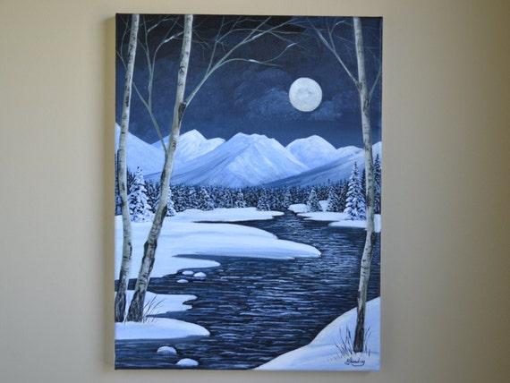 Sale 12x16 Acrylic Winter Landscape Painting Night Etsy