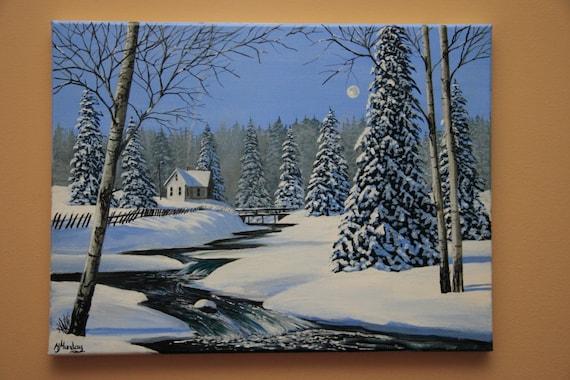 House On The Snowy Hill 12x16 Original Acrylic Winter Etsy