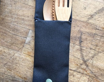 Bamboo cutlery set with charcoal pouch
