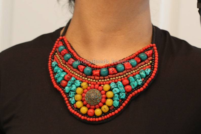 Collar Necklace  Beaded Bib NecklaceMulticolor Statement image 0