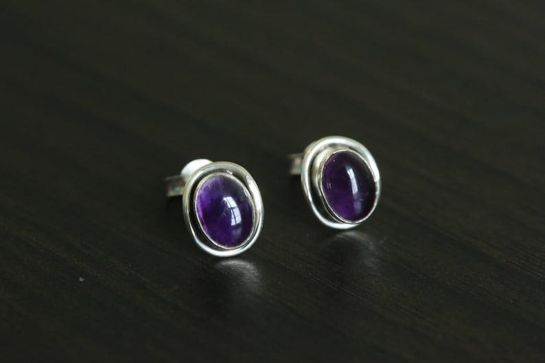 Amethyst Earrings Sterling Silver925 Amethyst Gemstone image 0