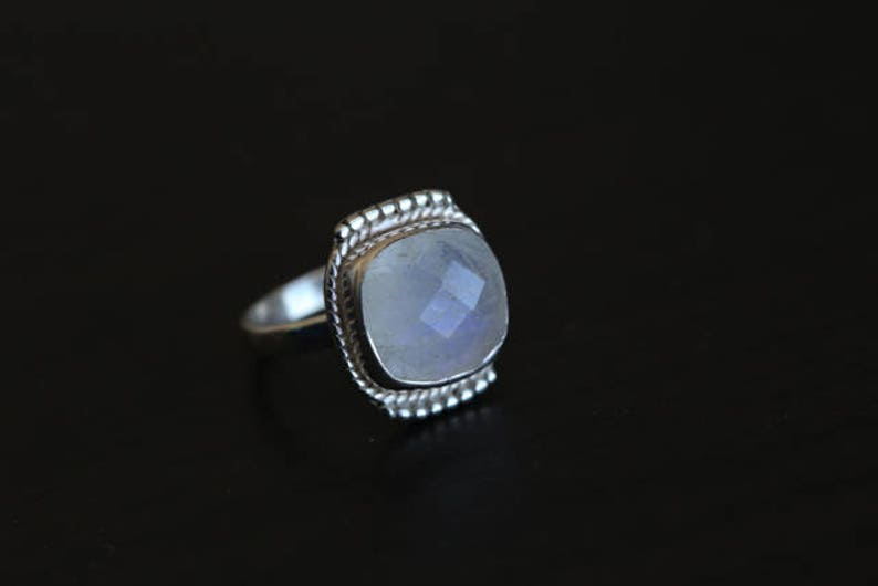 Moonstone Silver Cushion Cut Ring 925 Silver Rainbow image 0