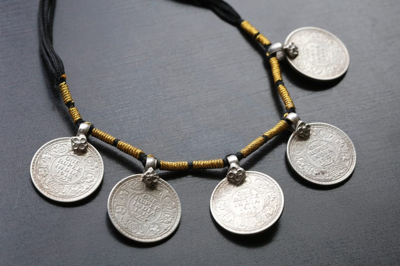 Old Vintage Silver Coins Necklace Sterling Silver necklace image 0