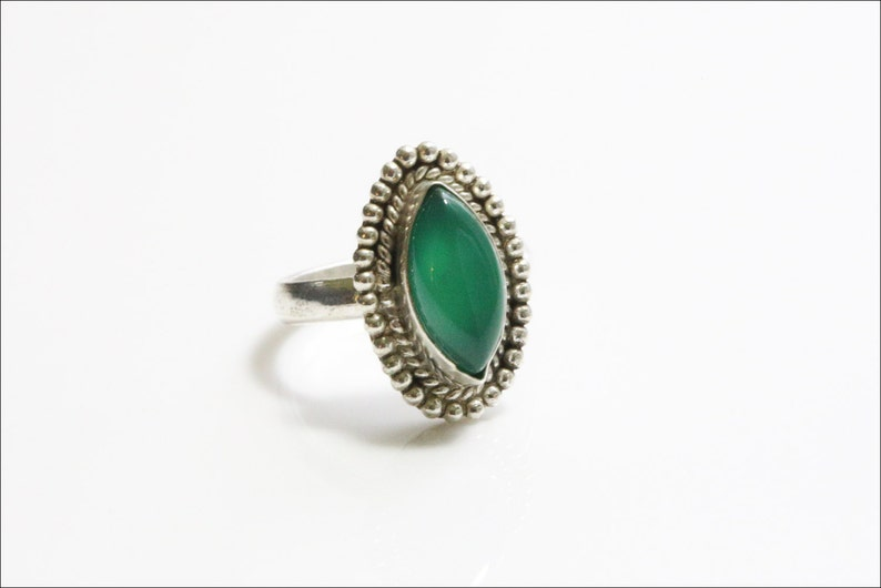 Green Onyx  Ring US 7 Green Onyx Silver Ring Silver Plated image 0