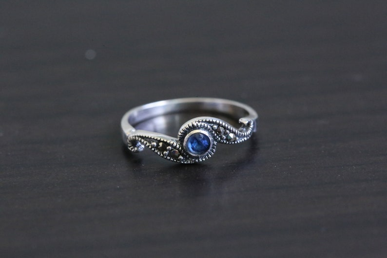 Marcasite Silver Ring 925 Blue Marcasite Ring 925 Marcasite image 0