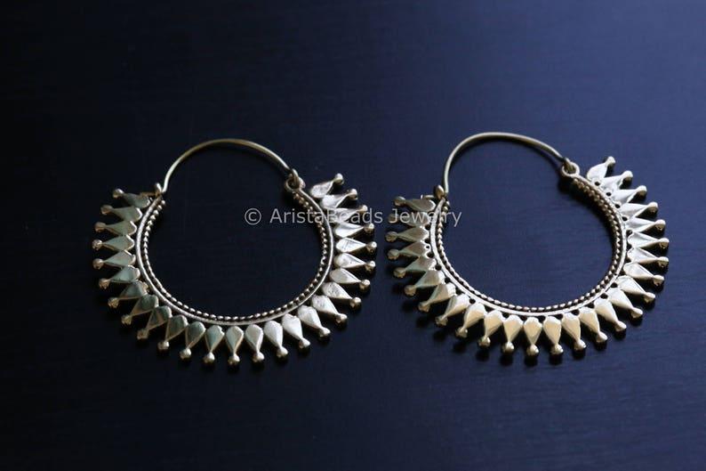 Tribal hoops Brass hoops Tribal Hoops Ethnic earrings image 0