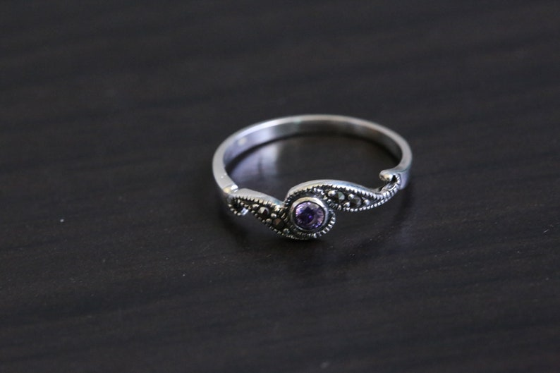 Marcasite Silver Ring 925 purple  Marcasite Ring 925 image 0