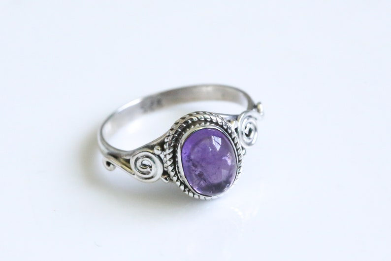 Natural Amethyst Ring Purple Amethyst Ring Oval RingSilver image 0