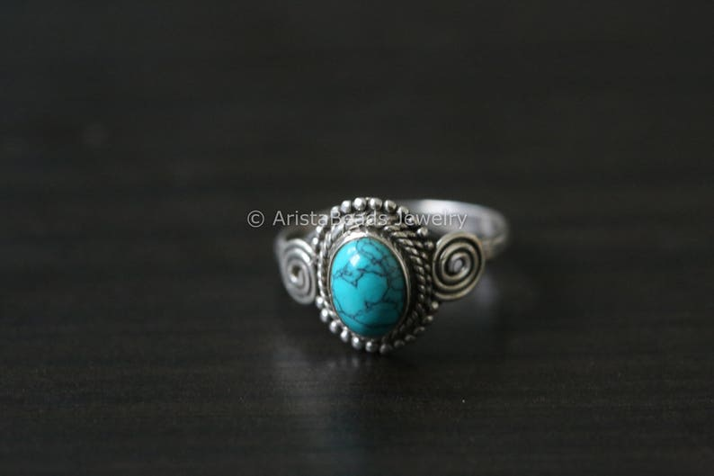 Turquoise Ring oval  Blue Ring Silver ring 925 Silver ring image 0