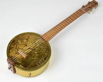 Gold Sovereign Ukulele, Tenor Ukulele, Personalised Gift, Gift For Ukulele, Unique Gift, Ukulele Art, Ukulele Accessories, Gold Coin, Tin