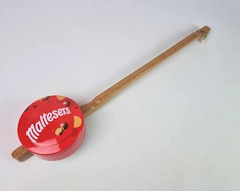 The Malteser canjo, One String Guitar, Diddley Bow, Cigar Box Guitar, Cookie Tin Guitar, Musical Instrument, Canjo, Chocolate Gift,