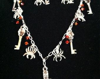 Skull - Spider Necklace & Earring Set