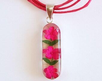 Natural Flower Necklace - Pink