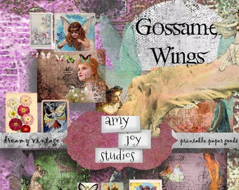 Gossamer Wings  Junk Journal Supplies  Fairy Journal  Printable Journal  Digital Journal Kits DIY  Junk Journal Inserts  Junk Journal Kit