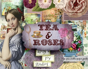 Tea & Roses  Vintage  Tea Lovers  Digital Journal Kit  Victorian Journal  Printable Journal Pages  Junk Journal Kit  Ephemera Vintage  Brit