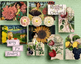 Vintage Garden  Printable Journal Pages  Floral   Fruit Crate Labels  ephemera pack  printable journal card  botanical clipart  Farm Clipart