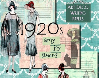 Art Deco  1920s  Printable Art  Writing  Journal Pages  Digital Download  Journal Pages  Mixed Media  scrapbook  Junk Journal Kit  Lined