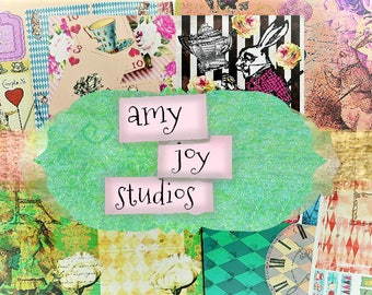 ALICE in Wonderland  Printable Journal Pages  Collage  Digital Paper  Ephemera Pack   journal cards  Junk journal kit  Mini albums