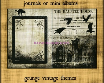 Vintage Halloween  Digital Journal Kit  Junk Journal Vintage  Mini Album  Black & White  Smashbook  Smash Book  Scrapbook  Printables
