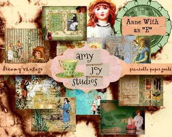 Anne With an E  Printable Journal Kit  Digital Journal Kits  Junk Journal Vintage  Ephemera Pack  Vintage Journal  Anne of Green Gables