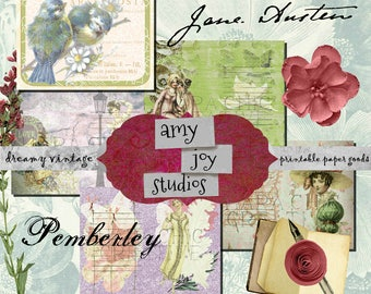 Jane Austen Printable  Pride and Prejudice  Printable Junk Journals  DIY Journal  ephemera pack  printable journal pages  jane austen