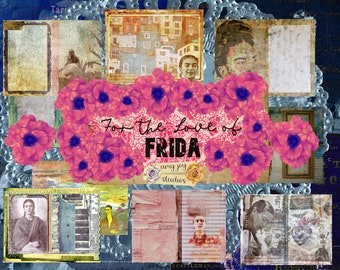 For the Love of Frida  printable journal pages  junk journal kits  DIY journal  Frida journal  digital journal kit  printable junk journal