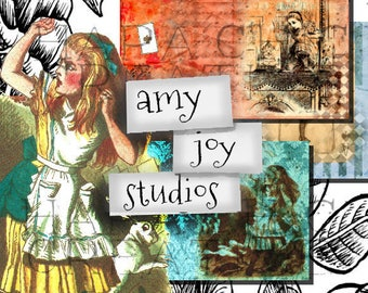 Alice in Wonderland  TEA FOR 3  Digital Journal Kits  Printable Journal Kit  Junk Journal Vintage  Scrapbook  Mini Album