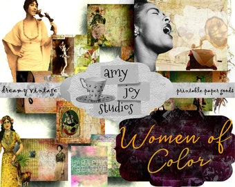 Women of Color  Vintage Printable Journal Kit  Digital Journal Kits  Collage Paper  Asian  African American  Indian  Persian  Latin