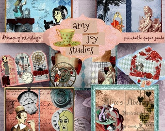 Alice in Wonderland Journal  Collage Art  Digital Journal Pages  Printable Journal Pages  Clipart  Smashbook  Junk Journal  Mini Album