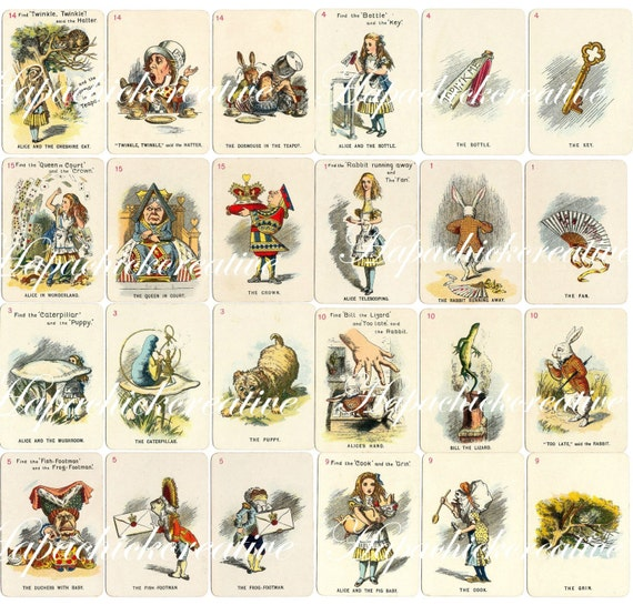 image about Printable Playing Card identified as Printable Alice inside of Wonderland Participating in Playing cards - Established of 24 Electronic Down load Typical Tenniel Colour Examples Decor Sbook