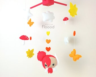 Fairy Baby Mobile, Modern Nursery Decor, Forest/ Woodland Baby Nursery Mobile, Felt Baby Mobile- Cot/ Crib Mobile- Pink Nursery Decor