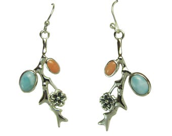 Pair of Sterling Silver Branch and Flower Earrings with Larimar and Coral Stones AARSDE-3213043