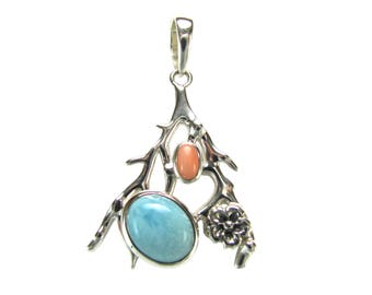 Sterling Silver Branch and Flower Pendant with Larimar and Coral PSDP-16812493