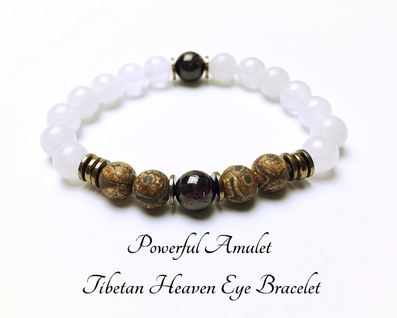 Powerful Amulet  Tibetan Heaven Eye Bracelet  Dzi Stone Bracelet  Jade  Bracelet  Garnet Bracelet  Healer Bracelet  Protection Bracelet #M224