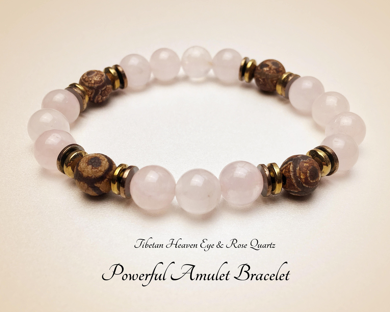 Powerful Amulet  Tibetan Heaven Eye Bracelet  Dzi GemStone  Rose Quartz  Bracelet  Healer Bracelet  Protection Bracelet  Mala Bracelet  #M230