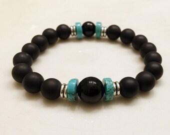 Gemstone Bracelet. Onyx Bracelet. Mala Yoga Bracelet. Protection Bracelet. Energy Bracelet. Mala Beads. Yoga Jewelry. Turquoise. #M217