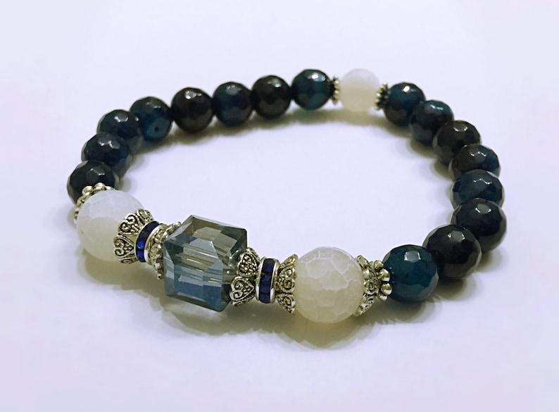 Protection Bracelet Yoga Jewelry #M157 Blue Agate Bracelet Blue Bracelet Mala Prayer Beads Healing Bracelet Gemstone Bracelet