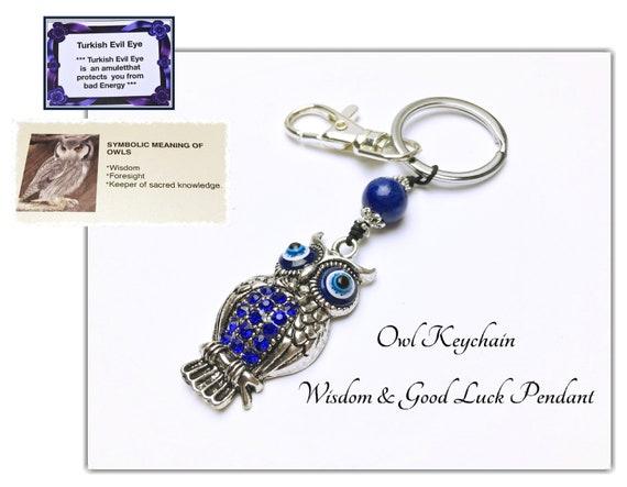Owl & Blue Turkish Evil Eye Keychain  Good Luck Keychain  Bag Charm Turkish  Evil Eye  Blue Gemstone  New Car Gift  God Luck Gift  #2K-C2