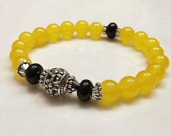 Gemstone Bracelet. Yellow Topaz Bracelet. Mala Yoga Bracelet. Healing Jewelry. Mala Beads. Bali Beads. Yoga Jewelry. Yellow Bracelet. #M139