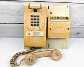 Vintage Wall Phone Push Button Northern Electric Telephone With Line Switch Box Industrial 1970s