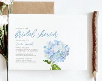minimalist light blue hydrangea bridal shower invitation digital or printed download hydrangea bridal shower