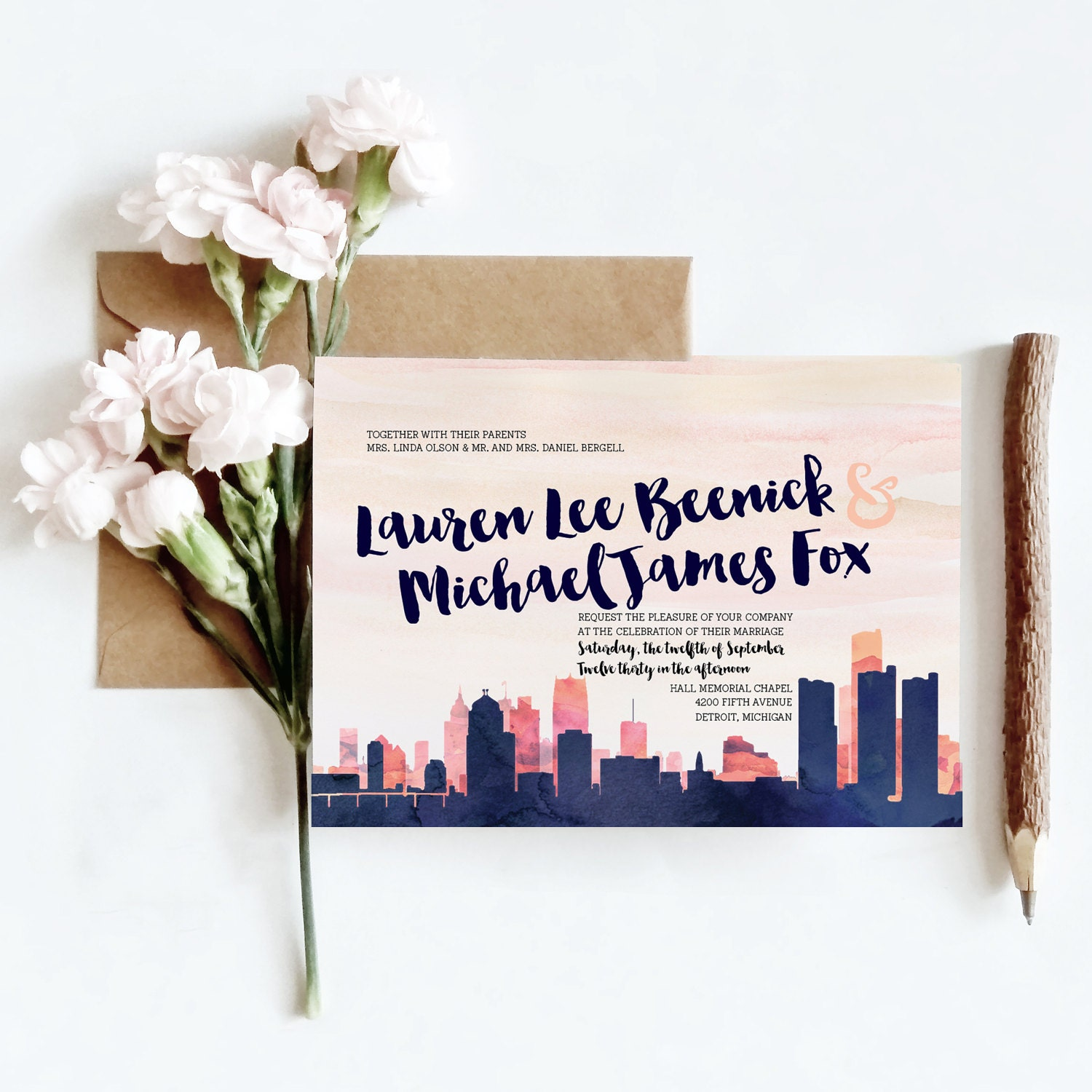 Personalized Skyline Wedding Invitations: Detroit MI Watercolor Skyline Wedding Invitations 6 Piece