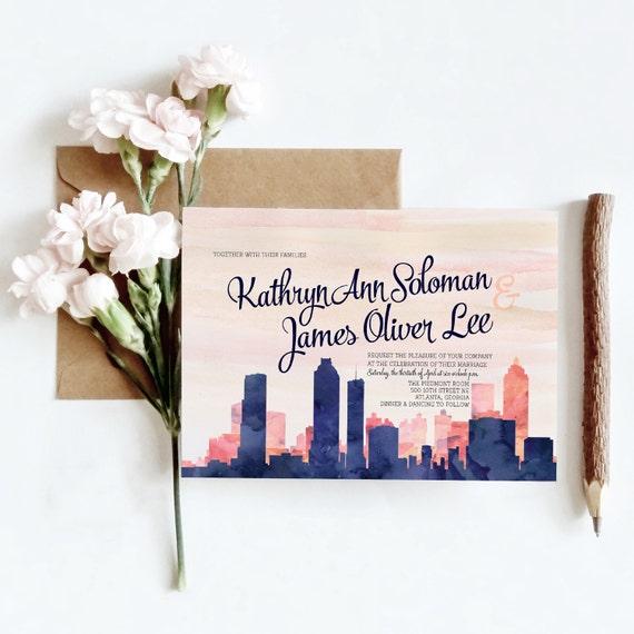 Wedding Invitations Houston: Houston TX Watercolor Skyline Wedding Invitations 6 Piece