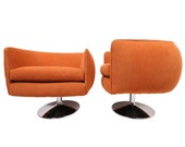 Vintage Swiveling Lounge Chair Pair - Milo Baughman, Adrian Pearsall Style - Original Vintage Design with Newer Fabric - Earthy Orange