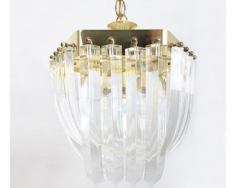 ae0189780dfd Sculptural Lucite and Brass Chandelier - Hollywood Regency Style - 15
