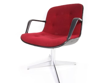 Vintage Red/Burgandy Steelcase Armed Shell Office Chair. Pollack By Knoll.  Chrome Base